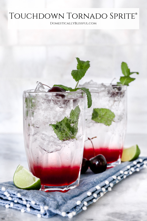 This Touchdown Tornado Sprite is a fun twist on a Virgin Cherry Mojito that's perfect for football season.