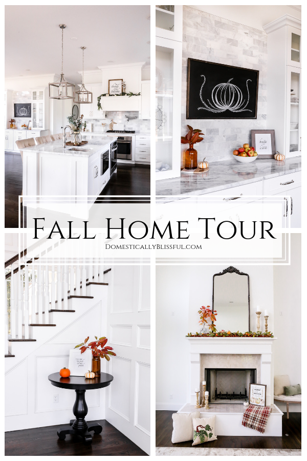A fall home tour with a classic fall living room color scheme & a neutral fall kitchen with eucalyptus & white pumpkins.