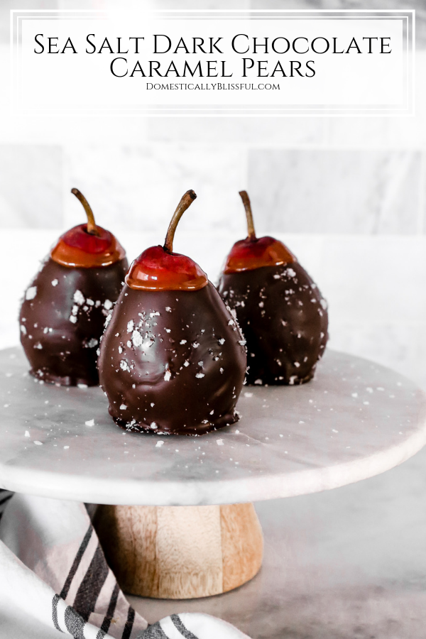These Sea Salt Dark Chocolate Caramel Pears are a simple 4-ingredient recipe that is a perfect holiday party dessert.