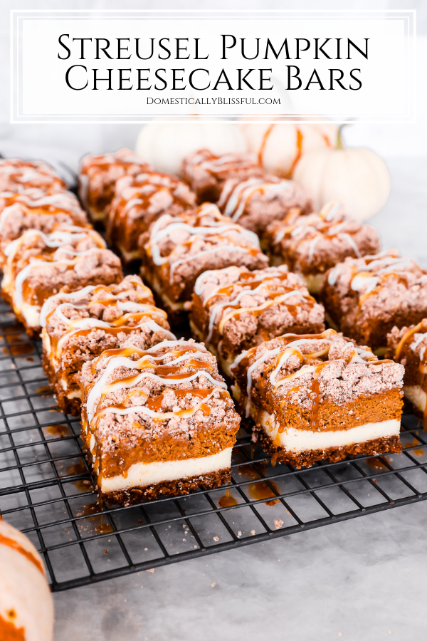 These Streusel Pumpkin Cheesecake Bars are the perfect fall dessert with a cinnamon graham cracker crust, two layers of cheesecake, and streusel with a drizzle of icing and caramel sauce on top.