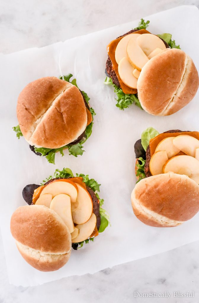 These Apple Cheddar Veggie Burgers are the perfect fall burger for dinner at home or a fall outdoor cookout with friends.