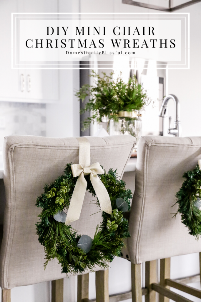 These DIY Mini Chair Christmas Wreaths are very easy to create and can be made for only $5 each!