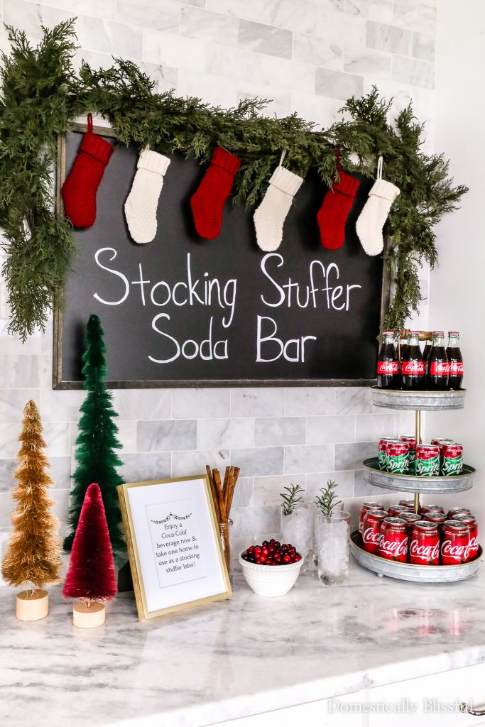 How to create a Stocking Stuffer Soda Bar this holiday season with festive flavors like cinnamon and winter spiced cranberry.