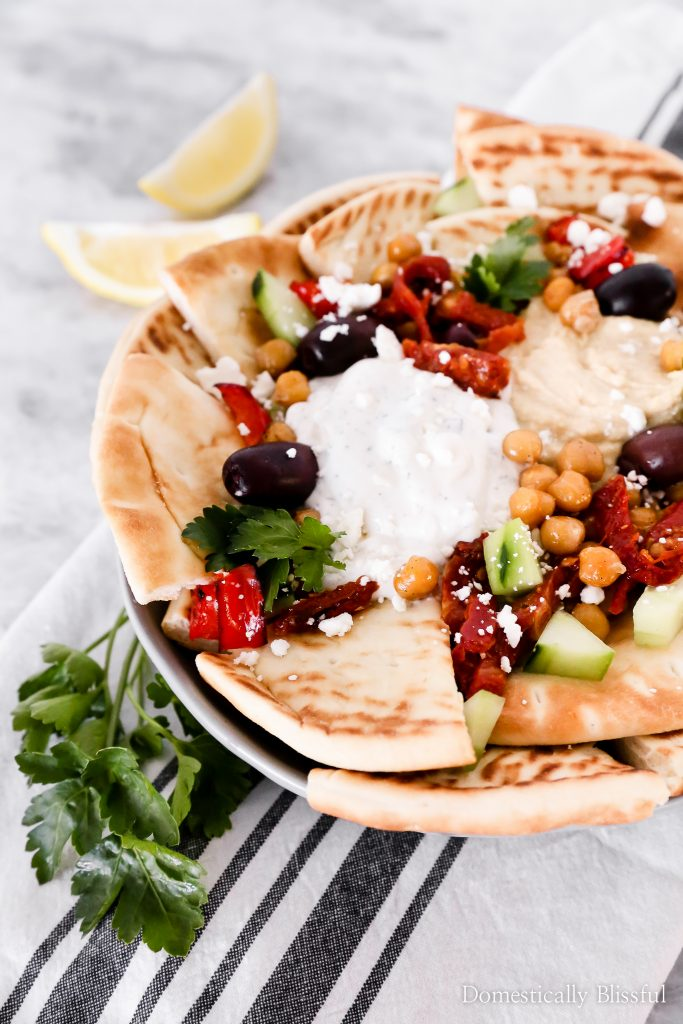 These Healthy Greek Nachos are a fun and simple dinner solution full of fresh ingredients and flavor!