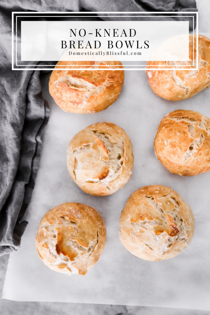 These No-Knead Bread Bowls can be made ahead of time and enjoyed with your favorite soup on a cold winter night!