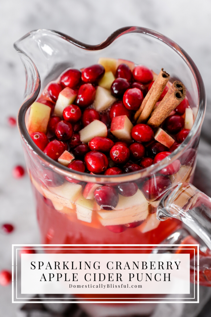 This Sparkling Cranberry Apple Cider Punch is perfect for holiday parties, super easy to make, nonalcoholic, and family-friendly!