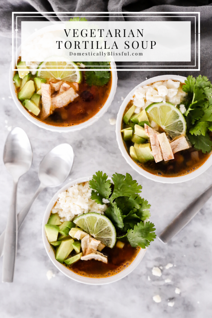 This Vegetarian Tortilla Soup is topped with fresh flavors and oven-roasted corn tortilla chips.