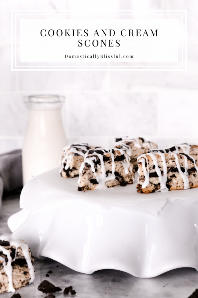 These Cookies and Cream Scones are sweet, soft, and perfect for dessert or even brunch!