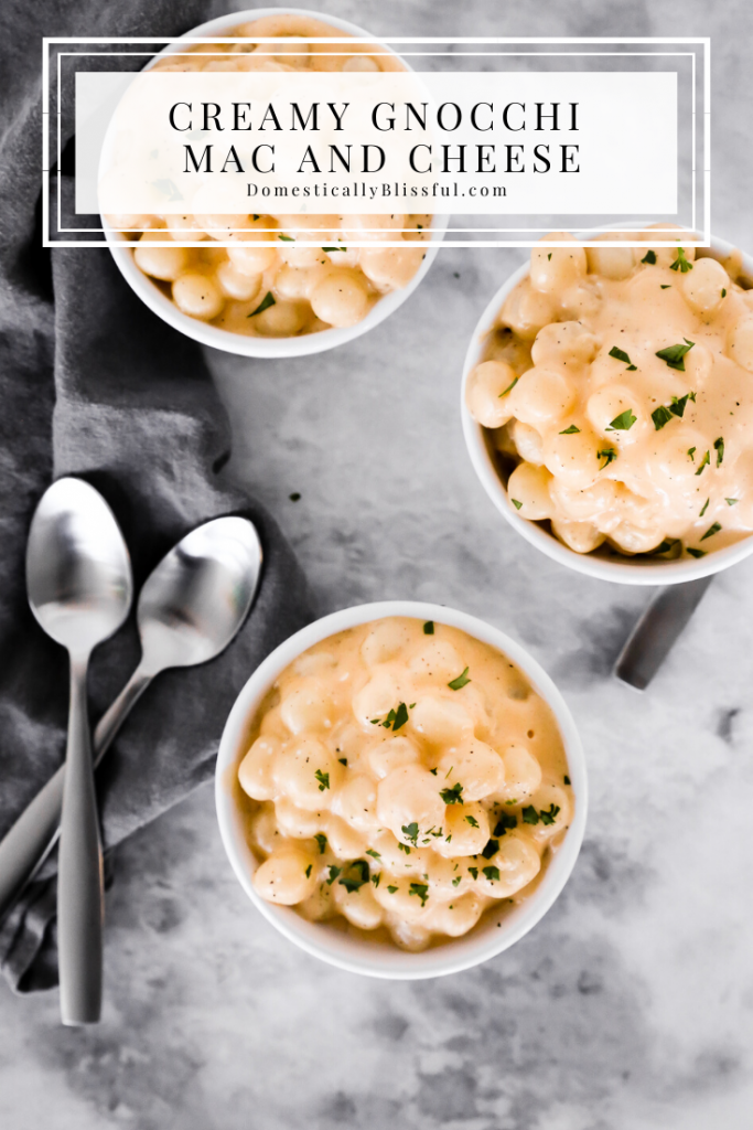 This Creamy Gnocchi Mac and Cheese is filled with sharp cheddar, white cheddar, and Colby cheese for an extra flavorful creamy cheese gnocchi.