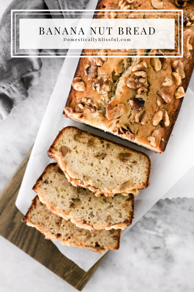This Banana Nut Bread is a super soft banana bread recipe filled with walnuts and perfect for using up over-ripened bananas!