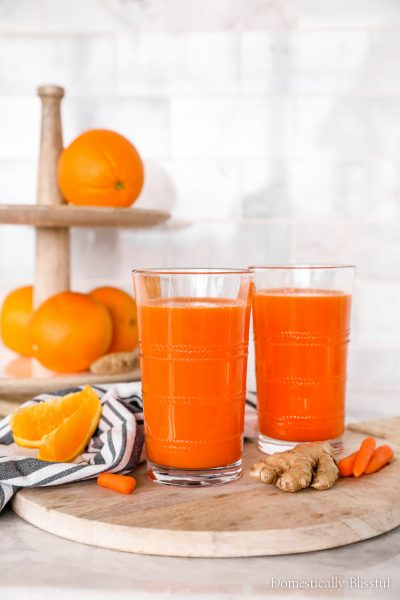 This Orange Carrot Ginger Juice is a great immunity-boosting juice that you can make at home with only 3 ingredients and in under 10 minutes!