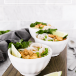 This Thai Tofu Noodle Soup is a vegetarian soup filled with noodles, tofu, and fresh vegetables and is topped with cashews, cilantro, chives, and fresh-squeezed lime!