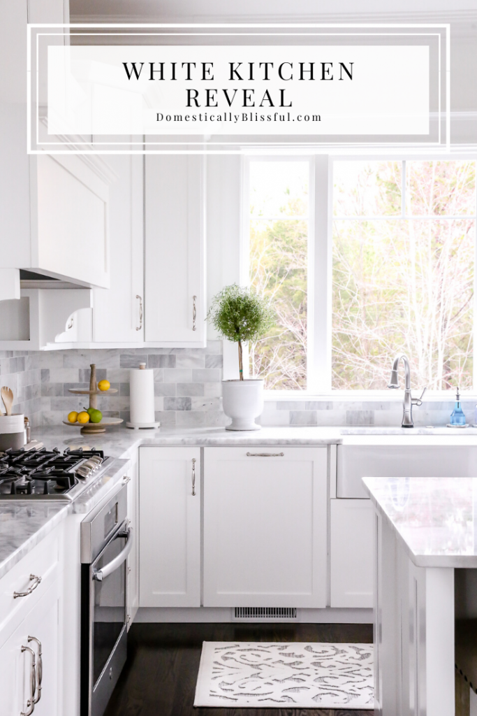 A little home tour sharing our white kitchen reveal and all of my favorite finds to decorate this space.