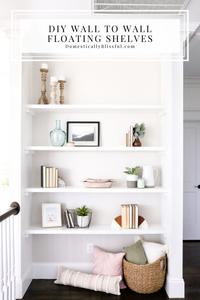 These DIY Wall to Wall Floating Shelves are easy to create and a beautiful way to add a statement wall to your home.