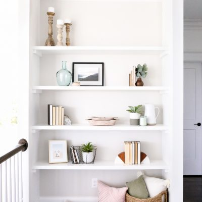 DIY Wall to Wall Floating Shelves