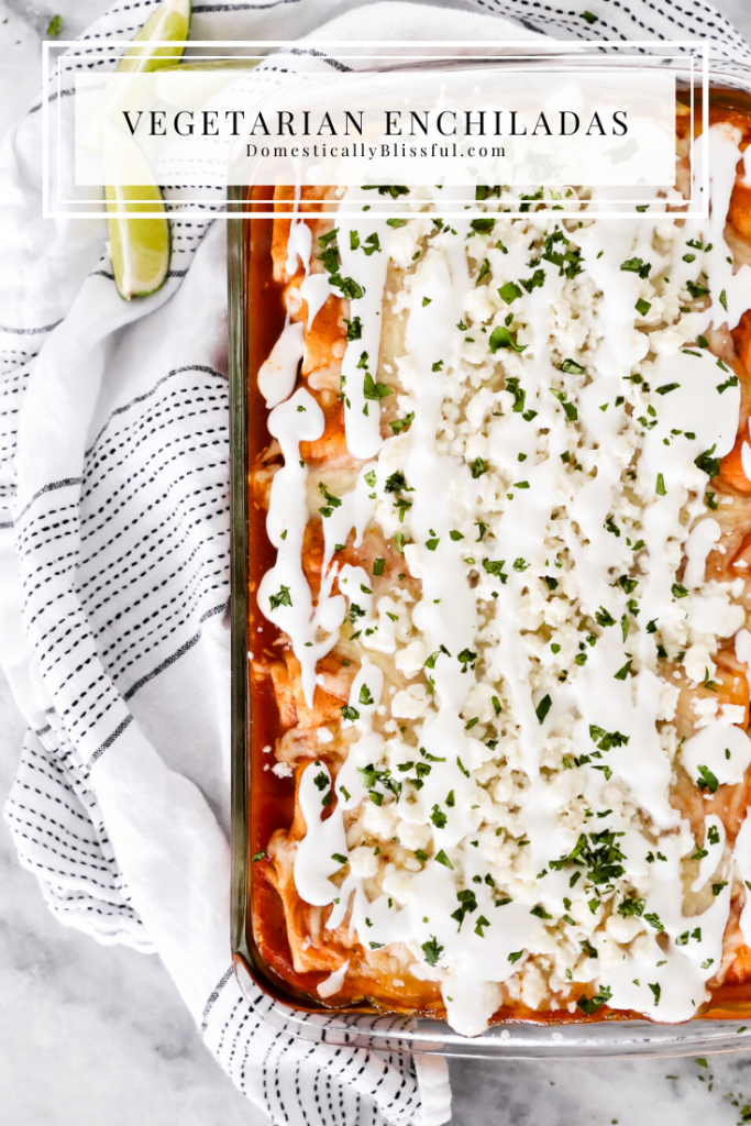 This Vegetarian Enchiladas recipe is topped with fresh flavors and filled with zucchini, broccoli, red pepper, corn, and black beans for a deliciously filling dinner.