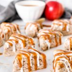 These Salted Caramel Apple Cinnamon Scones are filled with cooked cinnamon apples and topped with icing and salted caramel sauce.