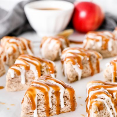 Salted Caramel Apple Cinnamon Scones