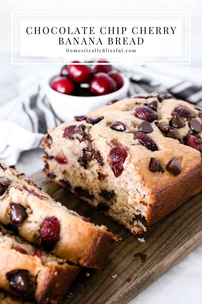 This Chocolate Chip Cherry Banana Bread is a super soft banana bread filled with fresh cherries and dotted with dark chocolate chips.