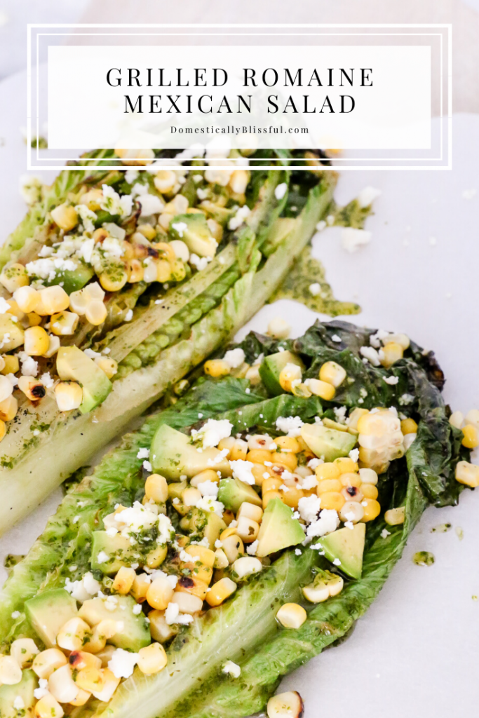 This Grilled Romaine Mexican Salad is topped with roasted corn, avocado, queso fresco, and a homemade Cilantro Honey Lime Dressing.