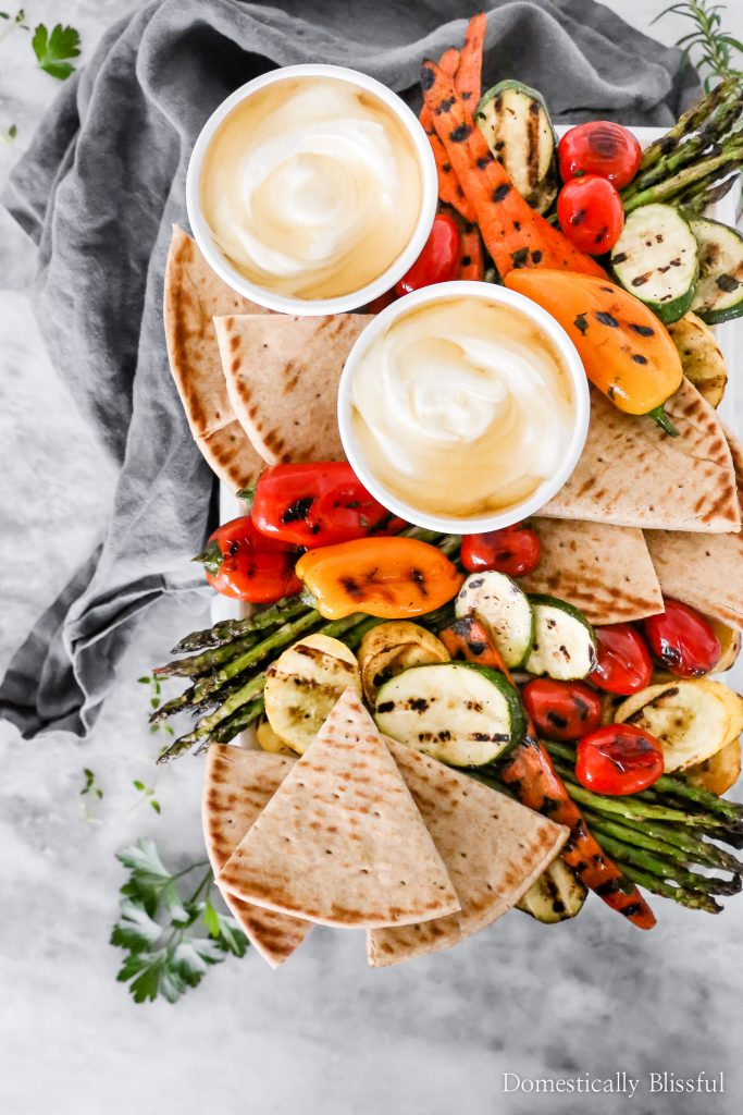 This Marinated Grilled Vegetables with whipped feta and honey is the perfect side dish for your next Mediterranean dinner.