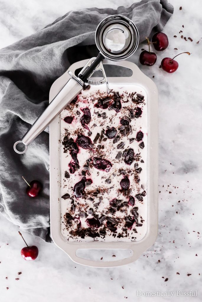 This Dark Chocolate Cherry Ice Cream is filled with dark chocolate chunks and roasted fresh cherries.