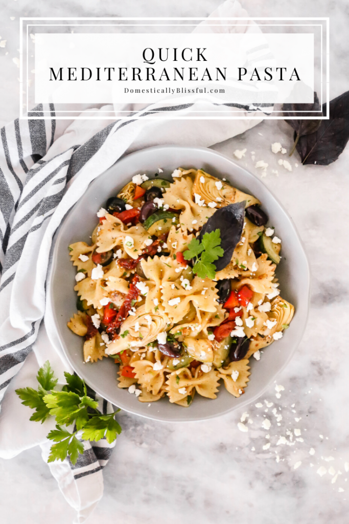 This Quick Mediterranean Pasta can be made in 15 minutes and is filled with a variety of colorful ingredients for a fun vegetarian dinner!