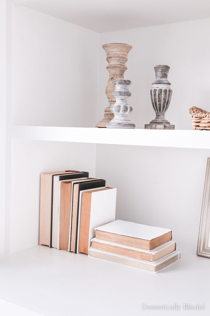 DIY White Painted Book Decor to add to your bookshelf decor.