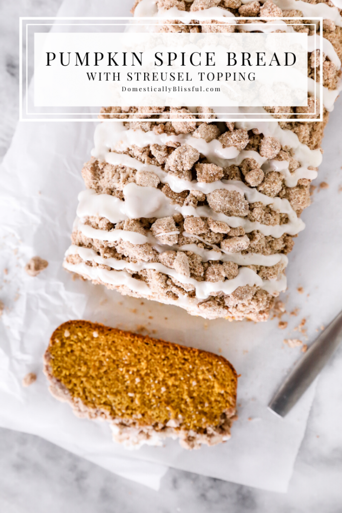 This Pumpkin Spice Bread with Streusel Topping is filled with warm fall flavors and a sweet crumbly topping.