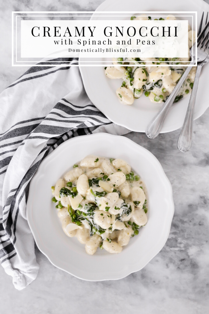 This Creamy Gnocchi with Spinach and Peas is a comforting creamy pasta dish filled with fresh ingredients that will leave you craving more.