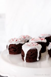 These Dark Chocolate Peppermint Scones are topped with peppermint icing and crushed candy cane.