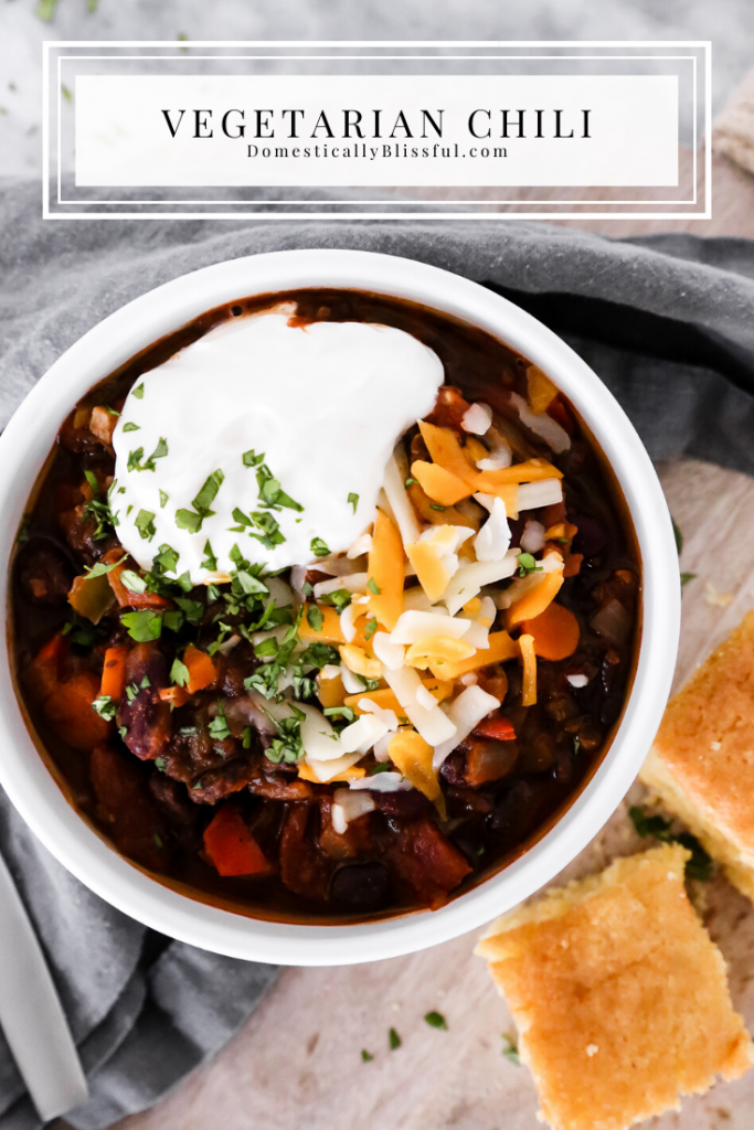 This Vegetarian Chili is filled with hearty flavors to keep you warm and cozy on a cold winter night!
