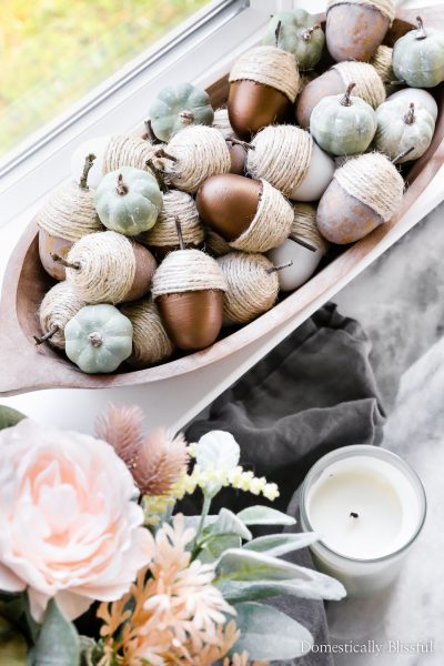 These DIY Neutral Acorns are made from Easter eggs and turned into beautiful fall decor for your home.
