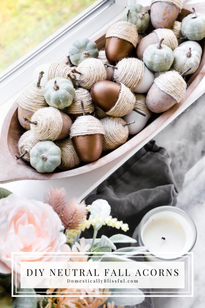 These DIY Neutral Fall Acorns are made from Easter eggs and turned into beautiful fall decor for your home.