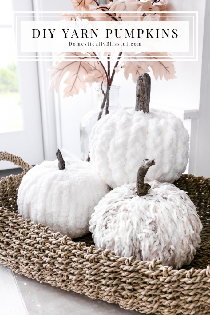 A DIY Yarn Pumpkins tutorial with tips on how to create 3 different patterns on your fall pumpkins!