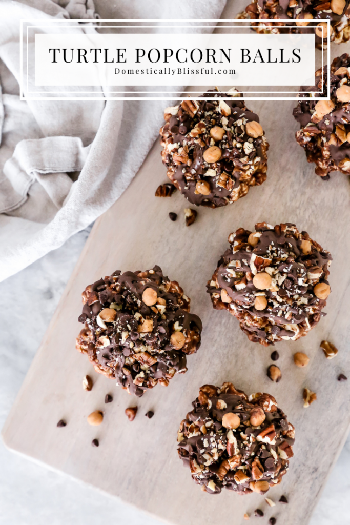 These Turtle Popcorn Balls are filled with caramel, mini chocolate chips, and pecans with a crunchy and chewy interior and extra sweet toppings.