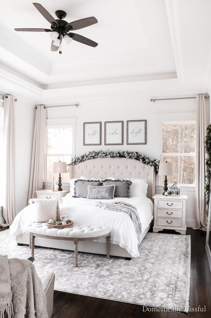 A little tour of our Bedroom Christmas Decor with neutrals and grays for calm Christmasy nights.