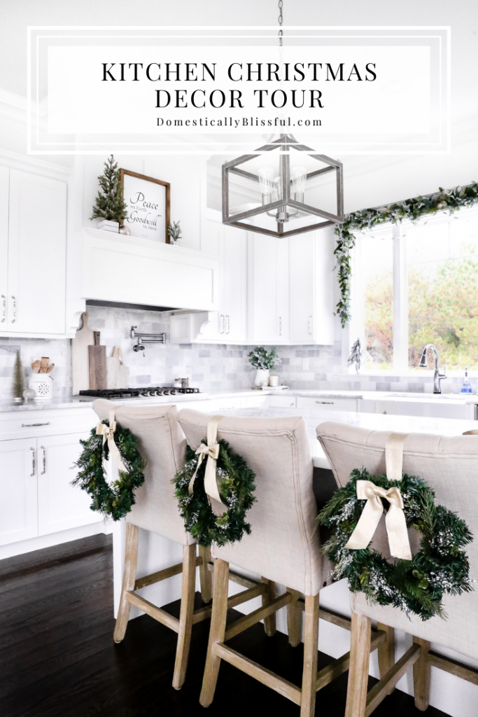 A little Kitchen Christmas Decor Tour sharing my favorite decor pieces in our white kitchen.