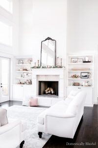 Valentine's Day Living Room Decor with hints of pink and lots of simple florals.