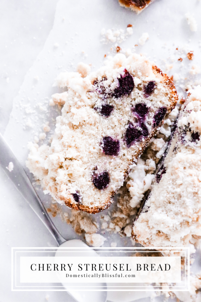This Cherry Streusel Bread is filled with fresh cherries, loaded with crumbly streusel, and topped with sweet icing.