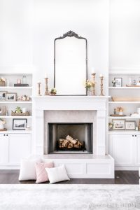 How to Clean Inside a White Fireplace to make it fresh and clean for the spring and summer months.