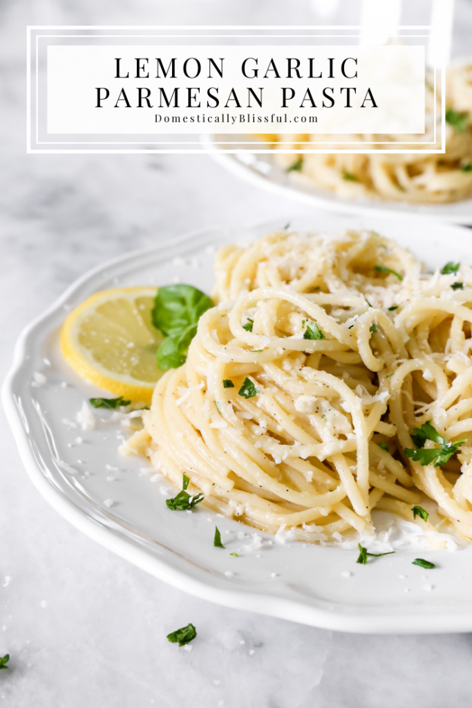 This Lemon Garlic Parmesan Pasta is full of fresh lemony flavor and is a great summer recipe to enjoy as a side dish or main meal.