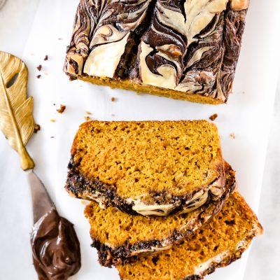 Nutella Cream Cheese Swirl Pumpkin Bread