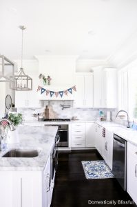 Simple Patriotic Kitchen Decor for the 4th of July to help you add a little bit of red, white, and blue for Independence Day.