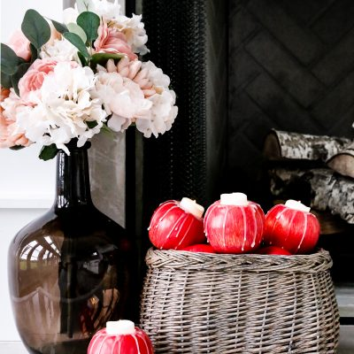 DIY Faux Apple Candle Holders