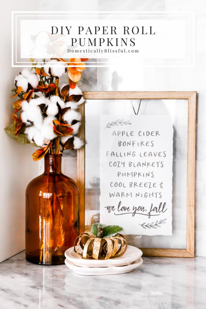 These DIY Paper Roll Pumpkins are created by upcycling paper rolls into beautiful fall decor for your home.